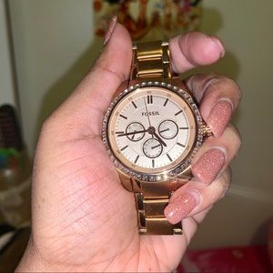 Rosegold Crystal Encrusted Fossil Watch